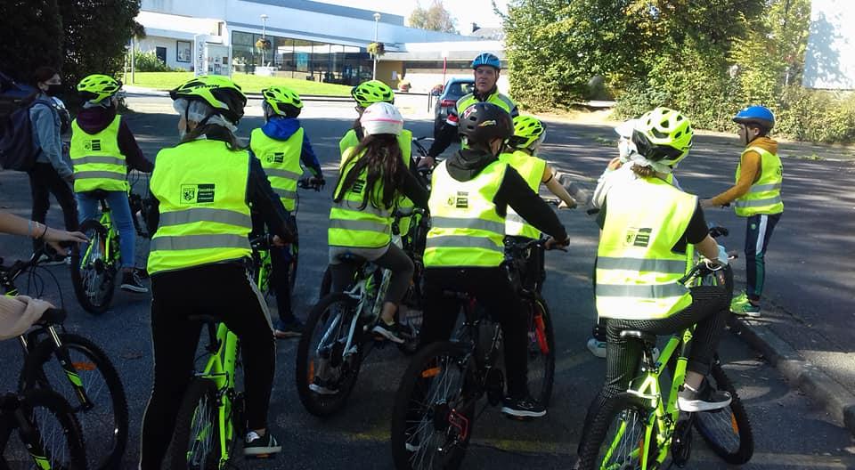 Action sécurité vélo avec les élèves de 6ème